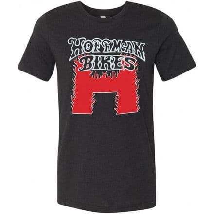 Hoffman Flaming H Logo T-Shirt - Black with Red - Extra Large